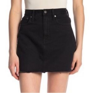Madewell Washed Black Raw Hem Denim Skirt